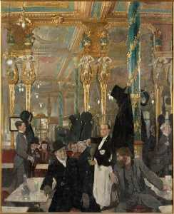 William Newenham Montague Orpen - ЛЕ CAFE ROYAL LONDRES