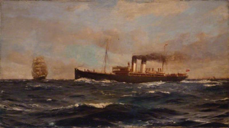 СС 'Immingham', холст, масло по Thomas Jacques Somerscales (1842-1927)