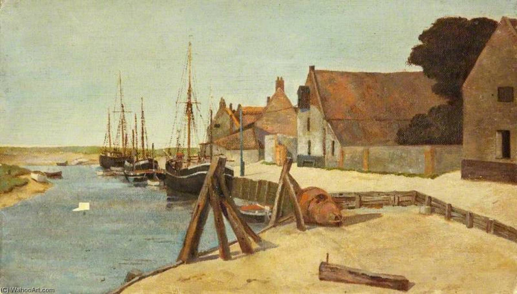 Blakeney Пристань, Масло по Charles Paget Wade (1883-1956, United Kingdom)
