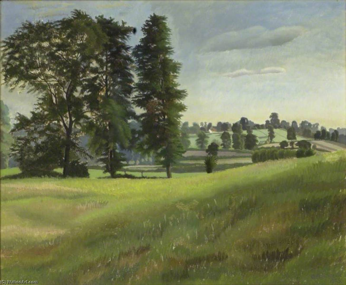 Вяз Деревья на Garsington, 1925 по Gilbert Spencer (1892-1979, United Kingdom) | Репродукции Музея | WahooArt.com