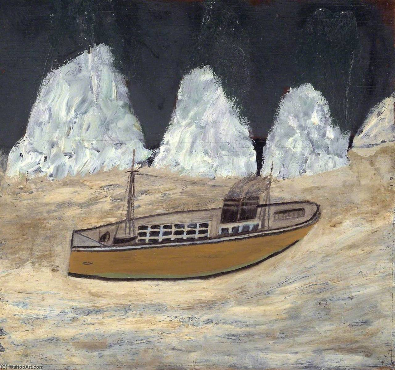 Путешествие в Лабрадор , Масло по Alfred Wallis (1855-1942, United Kingdom)