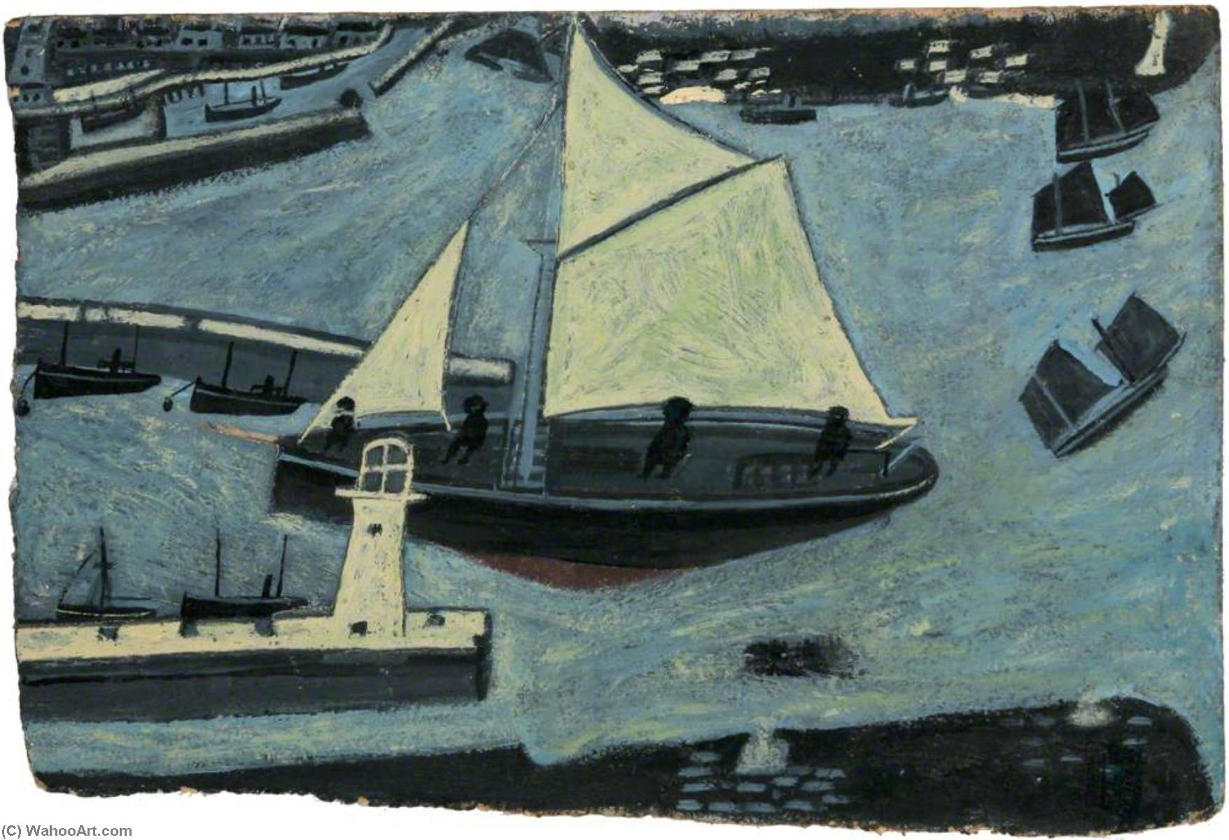 Пензенс Гавань  ВХОД  по Alfred Wallis (1855-1942, United Kingdom) | WahooArt.com