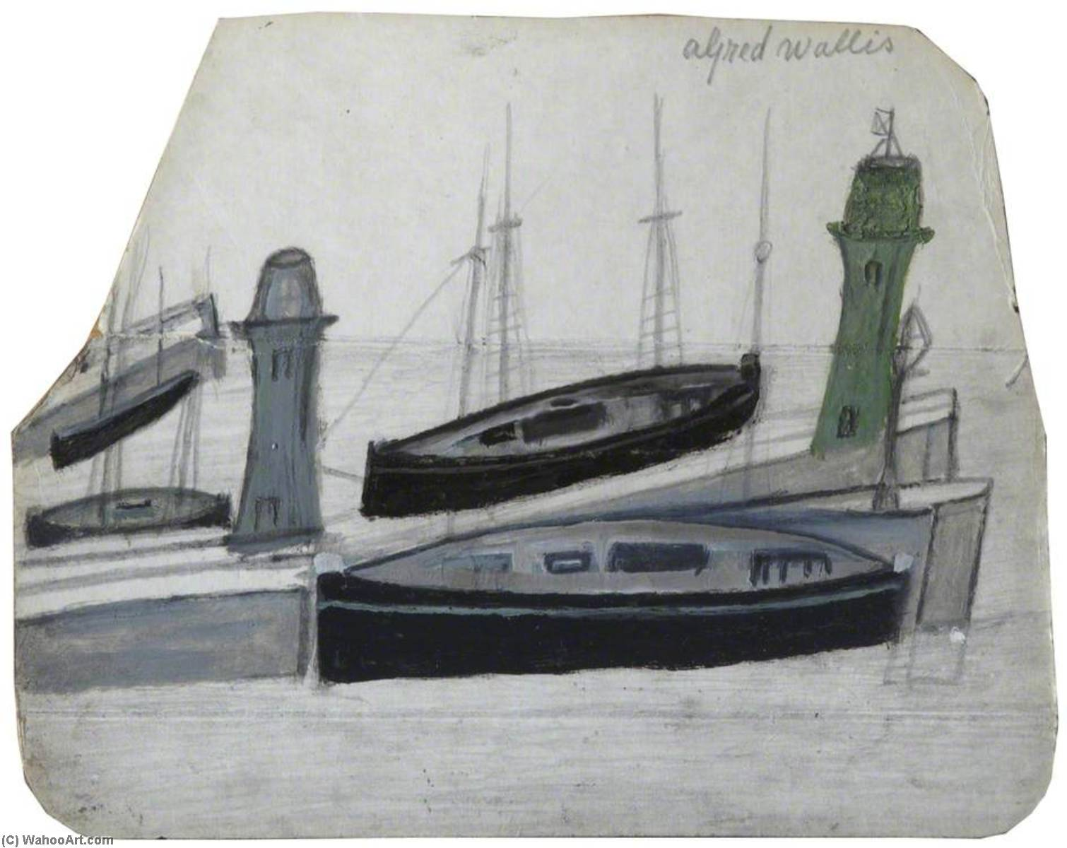 лодок по Alfred Wallis (1855-1942, United Kingdom) | Картина Копия | WahooArt.com