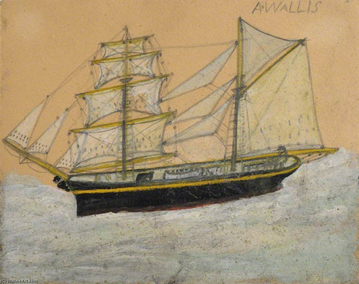 Получить Качественные Печати В Музеях | Бригантина с  марионетка  по Alfred Wallis (1855-1942, United Kingdom) | WahooArt.com