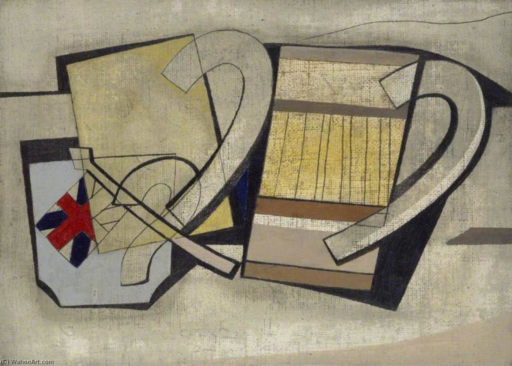 1945  до сих пор  жизни  с  Флаг , холст, масло по Ben Nicholson (1894-1982, United Kingdom)