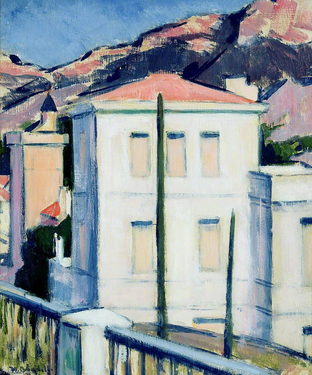 белый Вилла  Кассис , Масло по Francis Campbell Boileau Cadell (1883-1937)