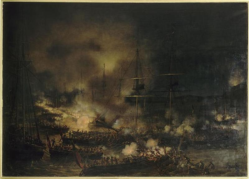 БОЕВОЙ ФЛОТ ДЕВАН BOULOGNE . NUIT ДЮ 15 А.Е. 16 AOUT 1801, Масло по Louis Philippe Crepin (1772-1851)