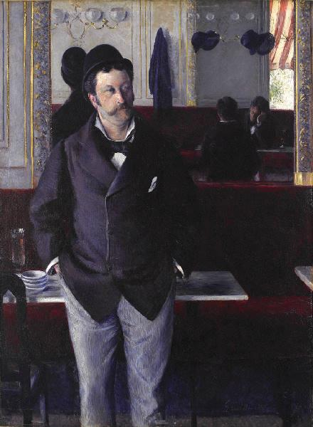 а.е. работает кафе , масло по Gustave Caillebotte (1848-1894, France)