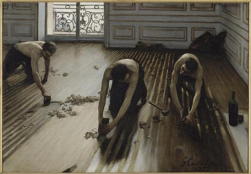 ИХ RABOTEURS ДЕ ПАРКЕТ, масло по Gustave Caillebotte (1848-1894, France)