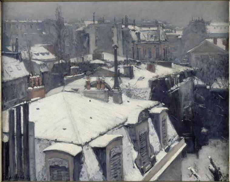 TOITS СУ ЛА NEIGE, масло по Gustave Caillebotte (1848-1894, France)