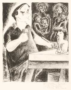 Aline Fruhauf - (Untitled Уильям Zorach Резьба Кот )